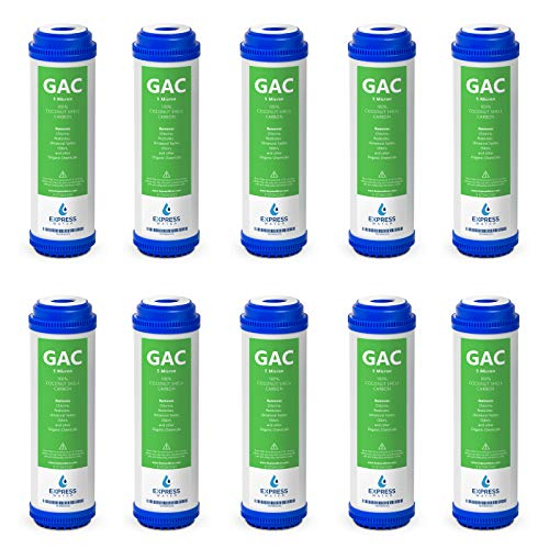 Express Water - 10 Pack Granular Activated Carbon GAC Water Filter Replacement - 5 Micron - 10 inch - Under Sink and Reverse Osmosis System (Gac Granular Activated Carbon)