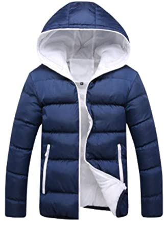 dc9f1bf305 Gocgt Men's Contrast Puffer Jacket Hooded Cotton Quilted Coat ...