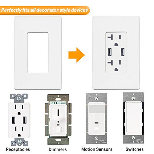 """ENERLITES Screwless Decorator Wall Plates Child Safe Outlet Covers, Size 1-Gang 4.68'' H x 2.94"""" L, Unbreakable Polycarbonate Thermoplastic, SI8831-W-40PCS, White (40 Pack) by ENERLITES (Image #3)"""