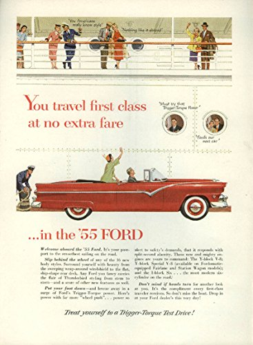 You travel first class at no extra fare Ford Sunliner Convertible ad 1955 NY