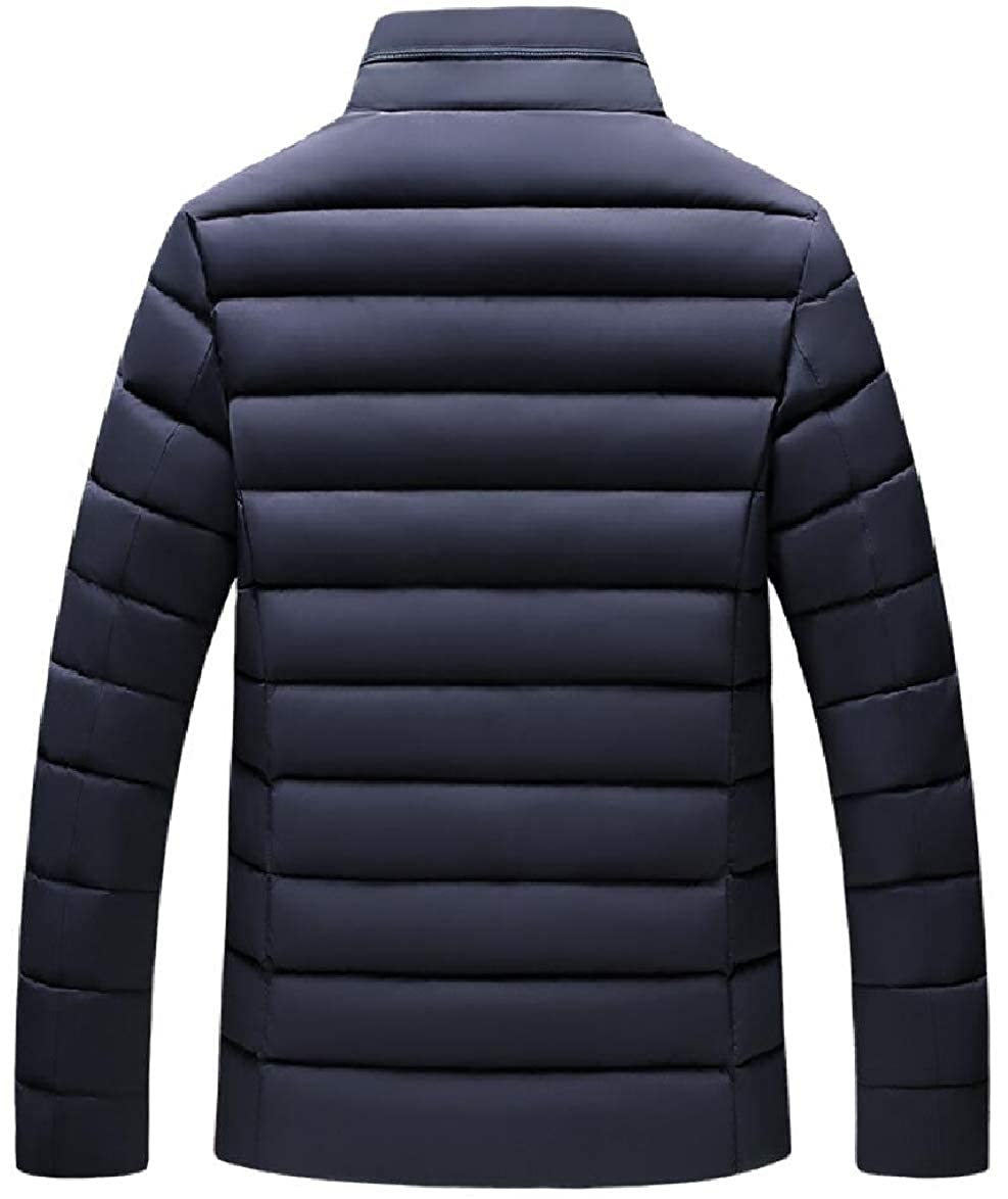 ouxiuli Mens Slim Fit Winter Front-Zip Quilted Thick Stand Collar Down Jacket Coat