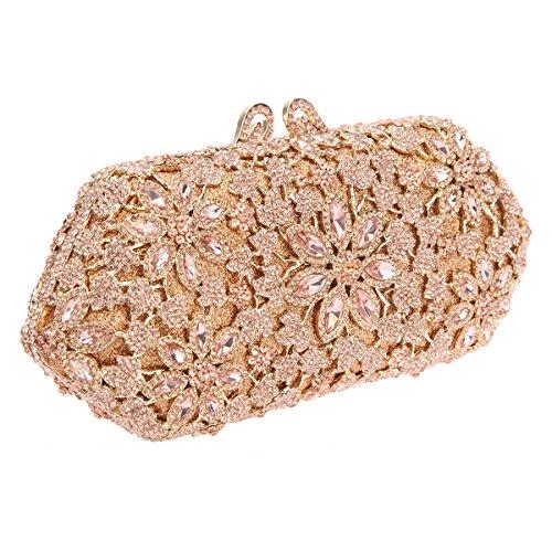 Purses Handbags For Flower Shining Gold Girls Crystal Blossoming Rose Bonjanvye qncTRxtn