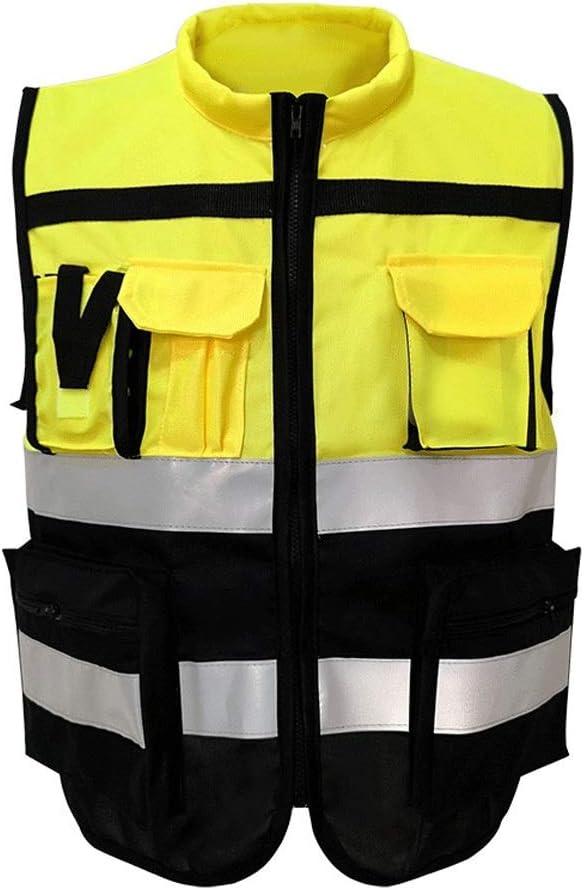 ZXCMNB Reflektierende Weste Sicherheitsschutz Verkehr Stra/ßenreitweste Commander Night Fluorescent Jacket Size : XXL