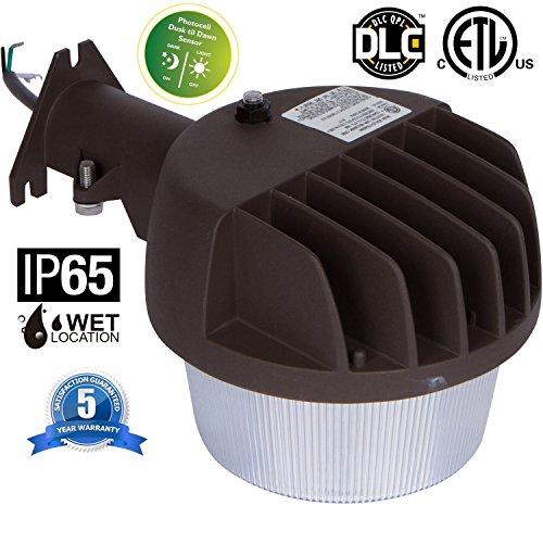 Dusk to Dawn LED Barn Area Light 30W Photocell Included, ETL DLC Listed, 300 Watt Incandescent Equivalent, 3600lm, 5000K Daylight Bronze
