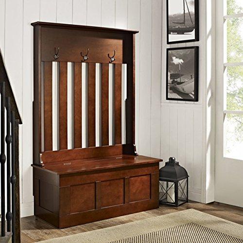 Hall Tree Storage Bench Coat Rack Stand Hooks Entryway Organizer Wood Furniture - Mahogany Stand Hall