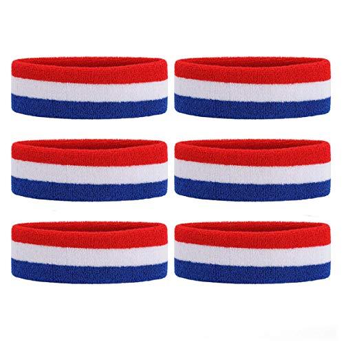 White Headband Sweatband - OnUpgo 6PCS Headbands Sweat Band for Men & Women - Sports Headband Moisture Wicking Athletic Cotton Terry Cloth Sweatband Sweat Absorbing Head Band (Red/White/Blue)