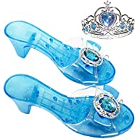 Girls Costume Glass Slippers for Frozen Snow Queen Princess Shoes+Free Princess Crown