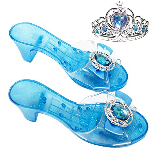 Girls Costume Glass Slippers for Frozen Snow Queen Princess Shoes+Free Princess Crown (Princess Shoes For Toddlers)