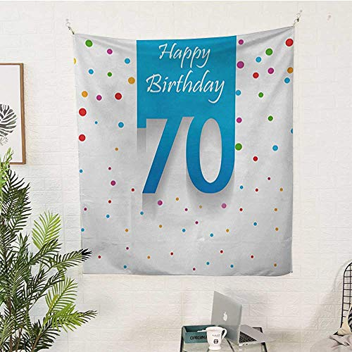 WilliamsDecor 70th Birthday Big Tapestry Colorful Polka Dots Backdrop and Happy Birthday 70 Years Quote Special Day Pattern Tapestry 40W x 60L INCHMulticolor
