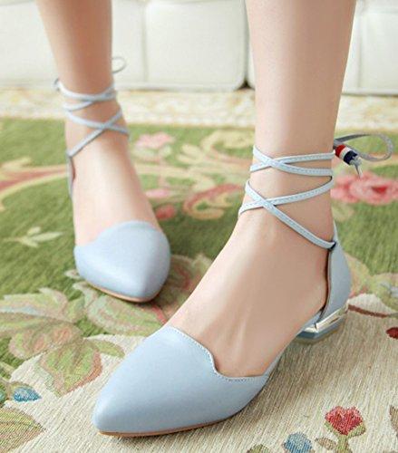 Idifu Mujeres's Sweet Pointed Toe Self Tie Bombas Zapatos Low Chunky Heels Blue