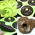 """BAKHUK 3Pack 4"""" Donut Baking Pan Full Size Non Stick Silicone Molds Donut Trays Donut Pans - 3 Colors 10 Large-sized donuts: This donut mold is suitable for making large-sized donuts. Mold length and width both are 9.3""""/23.3cm, single cavity diameter is 4""""/10cm, so the mold has a greater capacity. Multi-color options: package contains 3-colored molds, each mold contains four cavities. High quality: The mold is made of high quality food-grade silicone material, and is FDA certified. Thick texture, lovely colors."""