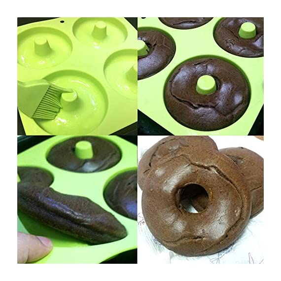 """BAKHUK 3Pack 4"""" Donut Baking Pan Full Size Non Stick Silicone Molds Donut Trays Donut Pans - 3 Colors 4 Large-sized donuts: This donut mold is suitable for making large-sized donuts. Mold length and width both are 9.3""""/23.3cm, single cavity diameter is 4""""/10cm, so the mold has a greater capacity. Multi-color options: package contains 3-colored molds, each mold contains four cavities. High quality: The mold is made of high quality food-grade silicone material, and is FDA certified. Thick texture, lovely colors."""