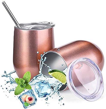 【Materiales de Alta Calidad y Segura】 La copa viajera de vino sin tallo está hecha de 304 acero inox