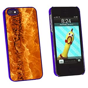 Graphics and More Wood on Fire - Flames Heat Snap-On Hard Protective Case for Apple iPhone 5/5s - Non-Retail Packaging - Blue