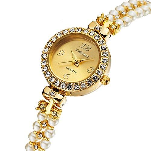 Caliente vender Ladies Reloj Pulsera Reloj de pulsera Kingsky barato reloj de pulsera Oro Pulsera de cuentas mejor Factory: Amazon.es: Relojes