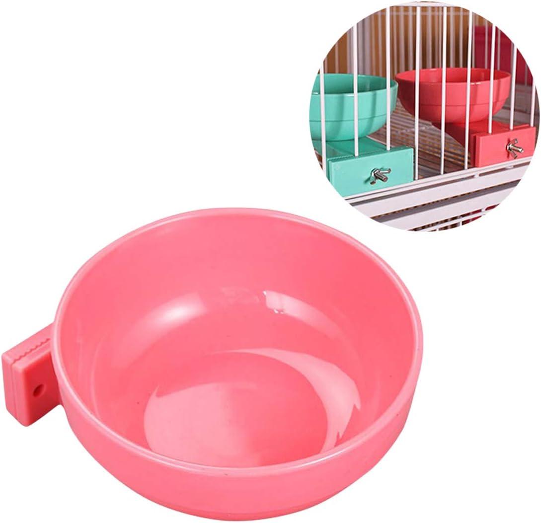 Balacoo Alimentador de Jaula para Mascotas Tazón de alimentación Desmontable Plato de alimentación de Agua para Alimentos Que cuelga con Soporte de Perno para Cachorro Perro Gato Ave Pequeña Mascota