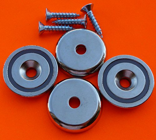 4Pc Super Strong 120 lbs Neodymium Cup Magnet 1.5