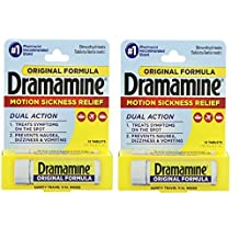 Dramamine Motion Sickness Relief Original Formula, 50 mg, 12 Count by Dramamine