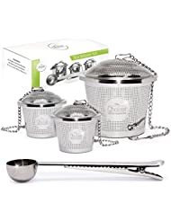 Tea Infuser Set by Chefast (2+1 Pack) - Combo Kit of 2 Single Cup Infusers, 1 Large Infuser, and Metal Scoop with Bag Clip - Reusable Stainless Steel Strainers and Steepers for Loose Leaf Teas