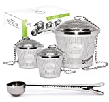 : Tea Infuser Set by Chefast (2+1 Pack) - Premium Stainless Steel Strainers for a Superior Loose Leaf Tea Experience - Includes 2x Single Cup Infusers, 1x Large Infuser & Tea Scoop with Bag Clip