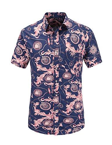 (JEETOO Mens Casual Flower Print Hibiscus Short Sleeve Hawaiian Aloha Shirt (Pink, X-Large) )