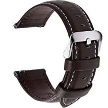 Quick Release Leather Watch Band, Fullmosa Axus Genuine Leather Replacement Watch Strap with Stainless Metal Clasp 18mm 20mm 22mm 24mm