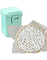 2.2Lb Ceramic Pie Weights Baking Beans Pie Crust Reusable 10mm Weights Natural Ceramic Stoneware with Wheat Straw Container (35 Oz Total) (Green)
