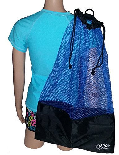 Boot Accessory Tote (Mesh Draw String with Shoulder Strap Bag for Scuba, Snorkel, Boat, Swim (Blue - Black Mesh))