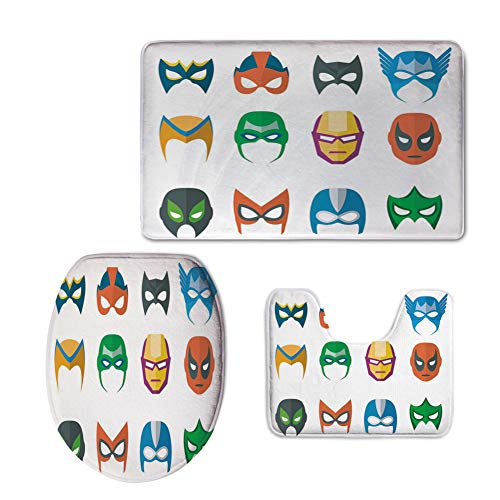 iPrint Fashion 3D Baseball Printed,Superhero,Hero Mask Female Male Costume Power Justice People Fashion Icons Kids Display,Multicolor,U-Shaped Toilet Mat+Area Rug+Toilet Lid Covers 3PCS/Set
