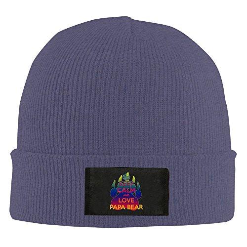 Gdlov Keep Calm And Love Papa Bear 2 Man Women Unisex Winter Warm Acrylic Watch Knit Wool Beanie Cap Hat Size One Size US Navy