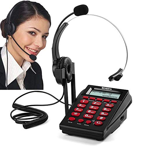 Corded Phone Headset, MCHEETA Call Center Telephone Headset with Dialpad, Noise Cancelling Phone Headsets for Office/House Phones