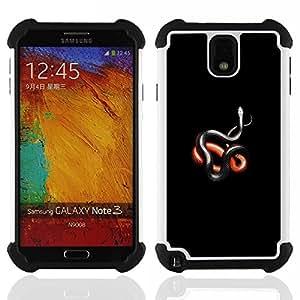 """SAMSUNG Galaxy Note 3 III / N9000 / N9005 - 3 en 1 impreso colorido de Altas Prestaciones PC Funda chaqueta Negro cubierta gel silicona suave (Minimalista Negro Rojo Serpiente Naturaleza Silbido"""")"""