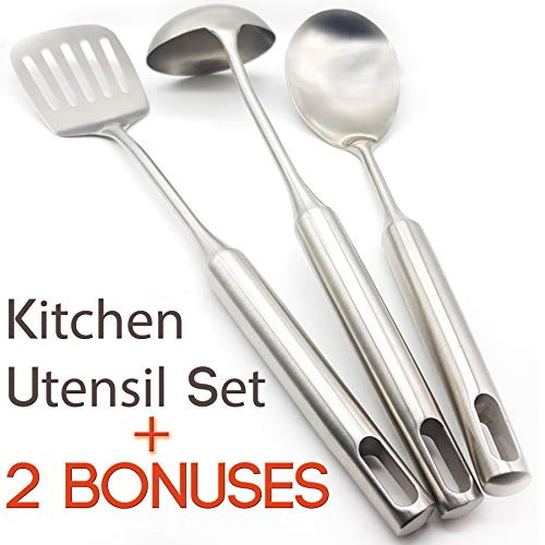 Diligent Kitchen Mixing / Serving Spoon Spatula and Ladle 3 Pcs Tool Set. Premium Quality, Rust Proof 304 Stainless Steel. Cookware Kitchen Utensil Set. Made to Last