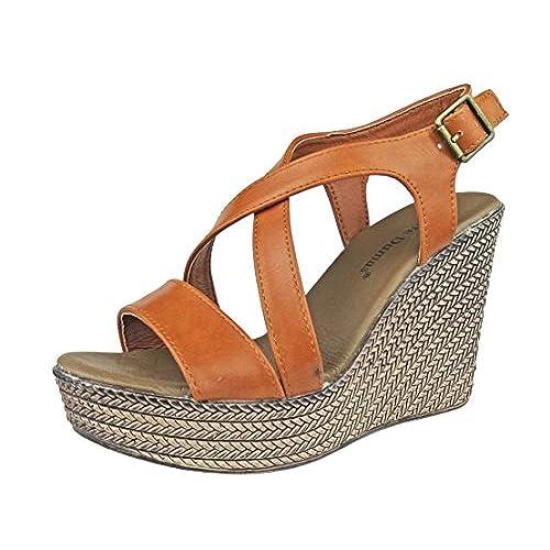 13ca02714770 well-wreapped Pierre Dumas Women s Claribel-1 Vegan Leather Strappy  Adjustable Ankle Strap Platform Wedge Sandals