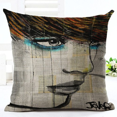 Jacder(TM) Fashion Woman Printed Cushion Cover Glamour Beauty Portrait Pillow Case Young Girl's Home Decoration[ NO 005 (005 Washer)