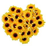 "huianer Artificial Sunflower Heads, 2.8"" Fake Simulation Flower Head for Home Party Wedding Cake Decoration, 30 PCS (Yellow)"