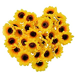 "HUIANER 100PCS Artificial Sunflower Heads, 2.8"" Fake Simulation Sunflower Head for Wedding Home Party Cake Decoration 117"
