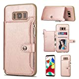 Shinyzone Samsung Galaxy S8 Plus Case,Zipper Wallet Case with Credit Card Holder and Cash Pocket Magnetic Buckle Stand Function Leather Flip Back Protective Cover-Rose Gold