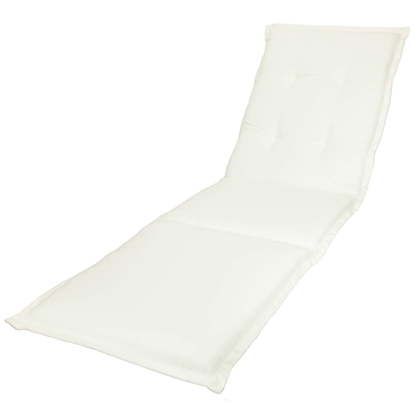KOPU® Auflage Gartenliege Prisma Ivory   Liegenauflagen für Gartenmöbel   Weiß Liegen Kissen 195 x 60 cm   19 einfache Farben   Robuster Schaumstoff für zusätzlichen Komfort