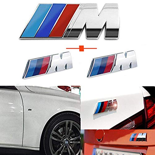(Haocc Loud M Silver 3pcs ABS Plastic Tri Color Fender Side +Rear Trunk Emblems Logo Decal Badge Sticker for All BMW)