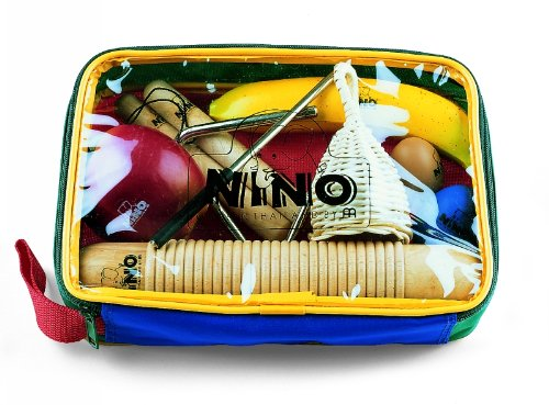 Nino Percussion Kids' Rhythm Set with 9 Pieces, Includes Egg & Fruit Shakers, Claves, Triangle, Caxixi, and Guiro - NOT MADE IN CHINA - Perfect for Classroom Music, 2-YEAR WARRANTY (NINOSET4) ()