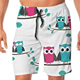 Haixia Men Funny Beach Shorts Nursery Couples of Owls Sitting On Spring Branche