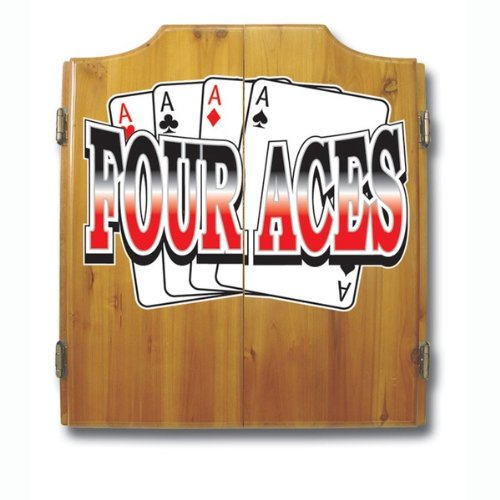 WMU Four Aces Dart Cabinet includes Darts and Board