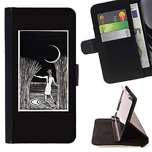 Momo Phone Case / Flip Funda de Cuero Case Cover - Pintura de la noche de la luna Rye Niño - Sony Xperia Z5 5.2 Inch (Not for Z5 Premium 5.5 Inch)