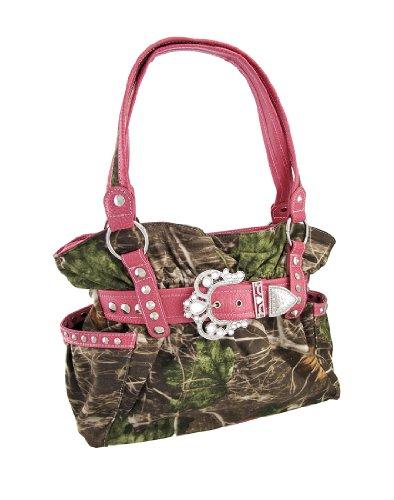 Camouflage Cinch Handbag Rhinestone Buckle Hot Pink Trim, Bags Central