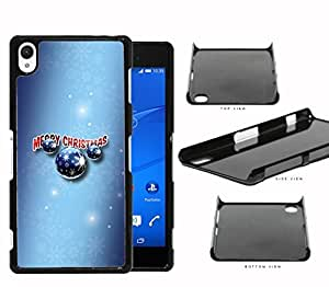 Merry Christmas Sign with Blue Ornaments and Blue Snowflakes Background Sony Xperia Z2 Hard Snap on Plastic Cell Phone Case Cover