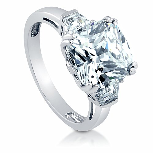 BERRICLE Rhodium Plated Sterling Silver Cushion Cut Cubic Zirconia CZ 3-Stone Engagement Ring Size 6