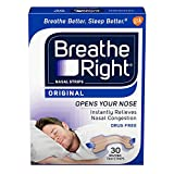 Breathe Right Original Tan Nasal Strips - 30 Count Boxes (Pack of 6) - Small/Medium