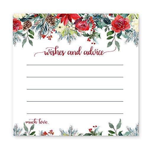 Holiday Floral Christmas Advice Card Game Set ( 25 pack ) Wedding, Bridal, Baby - Themed Shower Christmas Bridal