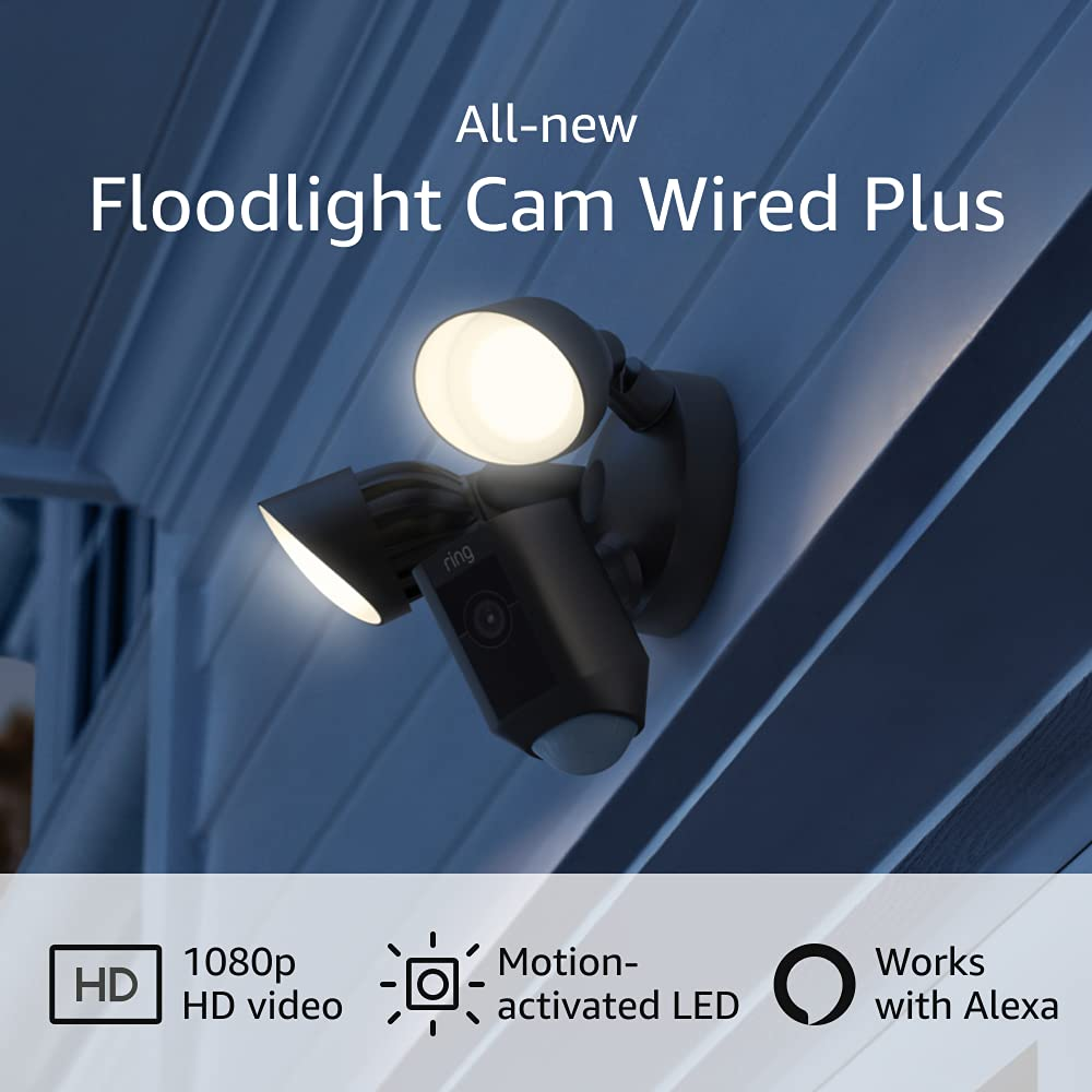 All-new Ring Floodlight Cam Wired Plus with motion-activated 1080p HD video, Black (2021 release)
